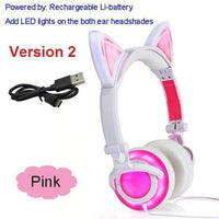Foldable LED Cat Ear Headphones Pink Ver.2 Accessories