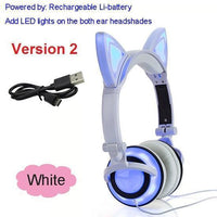 Foldable LED Cat Ear Headphones White Ver.2 Accessories