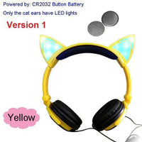 Foldable LED Cat Ear Headphones Yellow Ver.1 Accessories