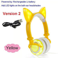 Foldable LED Cat Ear Headphones Yellow Ver.2 Accessories