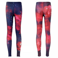 Galaxy Print Yoga Leggings Dark Violet and Red / S Yoga Pants