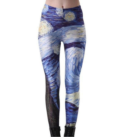 Galaxy Print Yoga Leggings Van Gogh / S Yoga Pants