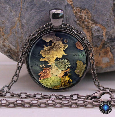 Game of Thrones Stark Pendant and Necklace Map - Black Necklace