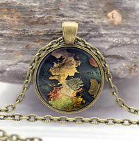 Game of Thrones Stark Pendant and Necklace Map - Bronze Necklace