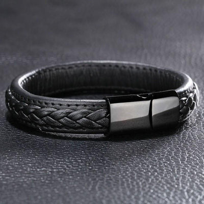 Genuine Leather Braided Bracelet With Black Stainless Steel Magnetic Clasp Bracelets