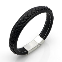 Genuine Leather Braided Bracelet With Stainless Steel Magnetic Clasp Black / 19.5cm (7.7in) Bracelets