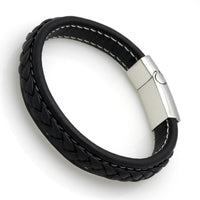 Genuine Leather Braided Bracelet With Stainless Steel Magnetic Clasp Bracelets