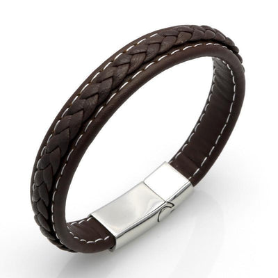 Genuine Leather Braided Bracelet With Stainless Steel Magnetic Clasp Brown / 19.5cm (7.7in) Bracelets