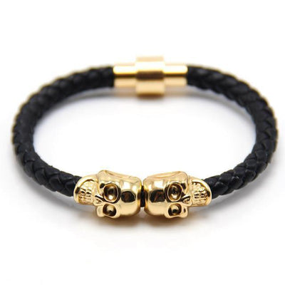 Genuine Leather Double Skull Magnetic Bracelet Black - Gold Bracelets