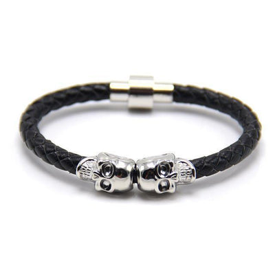Genuine Leather Double Skull Magnetic Bracelet Black - Silver Bracelets