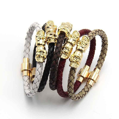 Genuine Leather Double Skull Magnetic Bracelet Bracelets