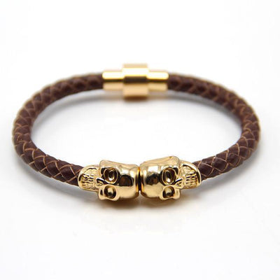 Genuine Leather Double Skull Magnetic Bracelet Brown - Gold Bracelets