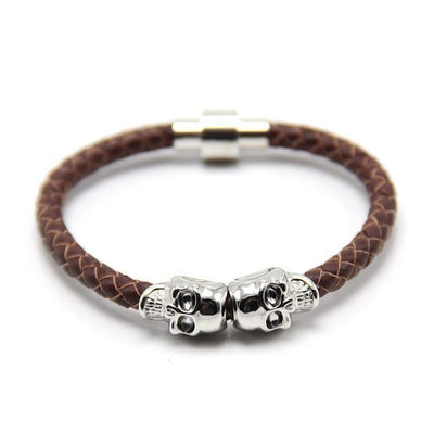 Genuine Leather Double Skull Magnetic Bracelet Brown - Silver Bracelets