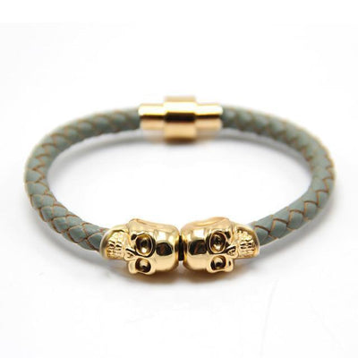 Genuine Leather Double Skull Magnetic Bracelet Gray - Gold Bracelets