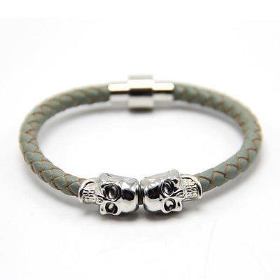 Genuine Leather Double Skull Magnetic Bracelet Gray - Silver Bracelets