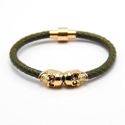 Genuine Leather Double Skull Magnetic Bracelet Green - Gold Bracelets