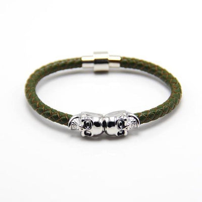 Genuine Leather Double Skull Magnetic Bracelet Green - Silver Bracelets