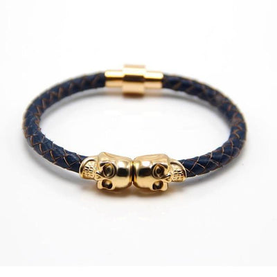 Genuine Leather Double Skull Magnetic Bracelet Navy Blue - Gold Bracelets