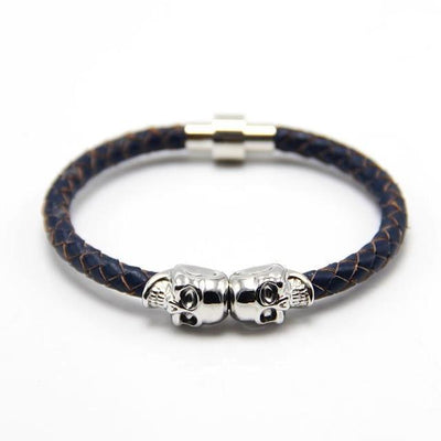 Genuine Leather Double Skull Magnetic Bracelet Navy Blue - Silver Bracelets