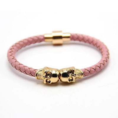 Genuine Leather Double Skull Magnetic Bracelet Pink - Gold Bracelets