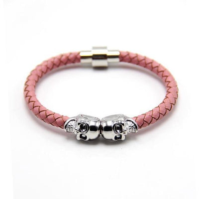 Genuine Leather Double Skull Magnetic Bracelet Pink - Silver Bracelets