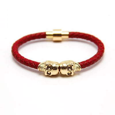 Genuine Leather Double Skull Magnetic Bracelet Red - Gold Bracelets