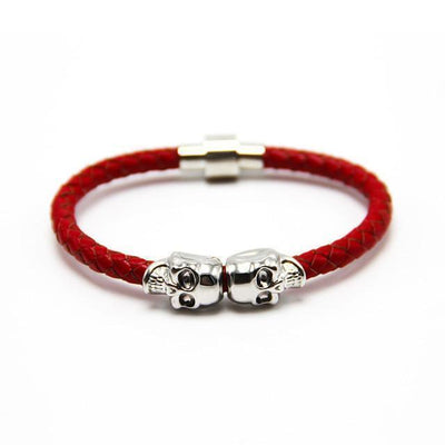 Genuine Leather Double Skull Magnetic Bracelet Red - Silver Bracelets