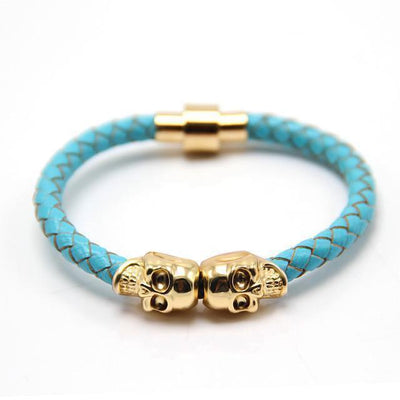 Genuine Leather Double Skull Magnetic Bracelet Turquoise - Gold Bracelets