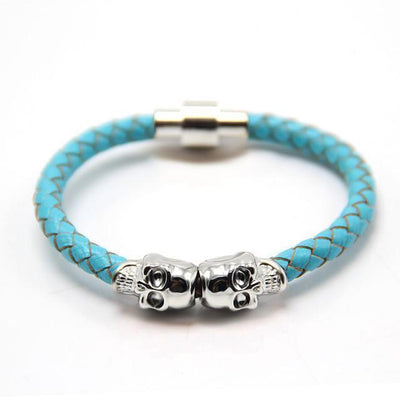 Genuine Leather Double Skull Magnetic Bracelet Turquoise - Silver Bracelets