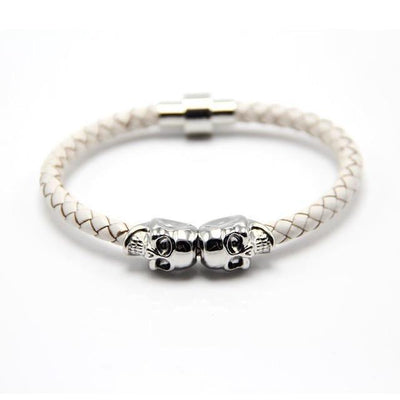 Genuine Leather Double Skull Magnetic Bracelet White - Silver Bracelets