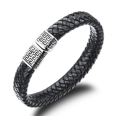 Geometric Tribal Stainless Steel Magnetic Clasp Woven Leather Bracelet 18.5cm | 7.3in Bracelets