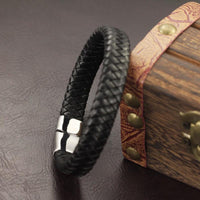 Geometric Tribal Stainless Steel Magnetic Clasp Woven Leather Bracelet Bracelets