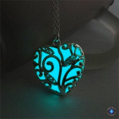 Glowing Heart Chakra Pendant Necklace Aqua Necklace