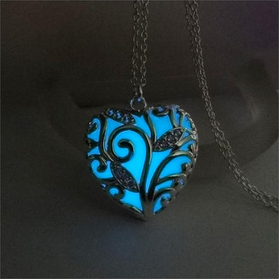 Glowing Heart Chakra Pendant Necklace Blue Necklace