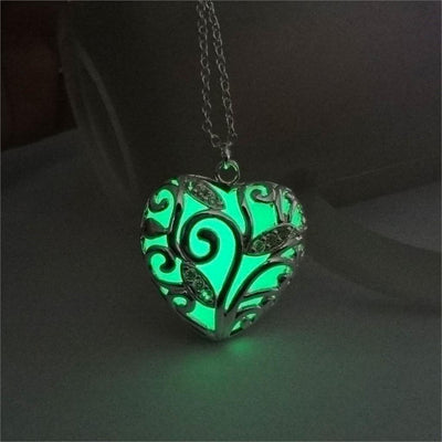 Glowing Heart Chakra Pendant Necklace Green Necklace
