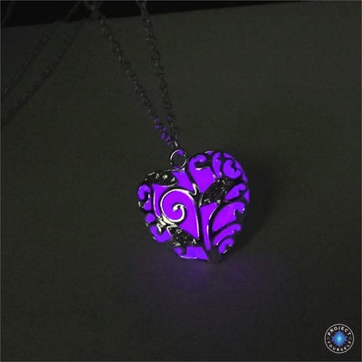 Glowing Heart Chakra Pendant Necklace Purple Necklace