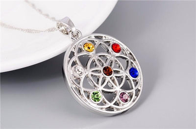 Gold and Silver Crystal Studded Mandala Flower of Life Pendant Necklace Chakra Necklace