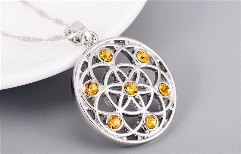 Gold and silver crystal studded mandala flower of life pendant gold and silver crystal studded mandala flower of life pendant necklace chakra necklace mozeypictures Gallery