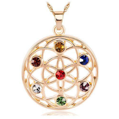 Gold and Silver Crystal Studded Mandala Flower of Life Pendant Necklace Gold - 7 Chakra Chakra Necklace