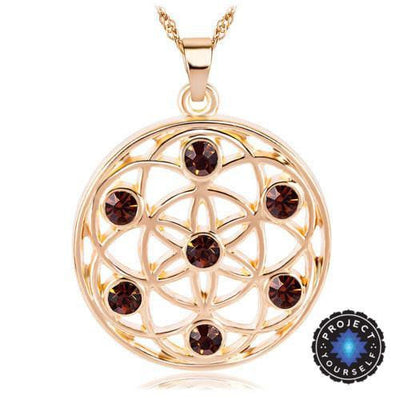 Gold and Silver Crystal Studded Mandala Flower of Life Pendant Necklace Gold - Brown Chakra Necklace