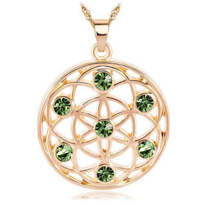 Gold and Silver Crystal Studded Mandala Flower of Life Pendant Necklace Gold - Green Chakra Necklace