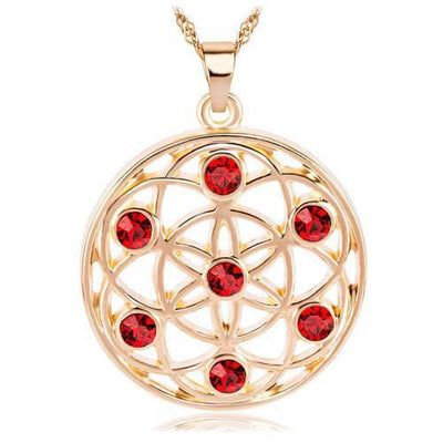 Gold and Silver Crystal Studded Mandala Flower of Life Pendant Necklace Gold - Red Chakra Necklace