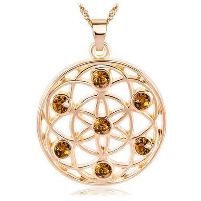 Gold and Silver Crystal Studded Mandala Flower of Life Pendant Necklace Gold - Yellow Chakra Necklace