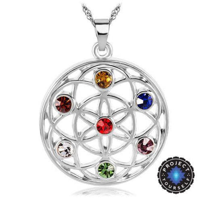 Gold and Silver Crystal Studded Mandala Flower of Life Pendant Necklace Silver - 7 Chakra Chakra Necklace