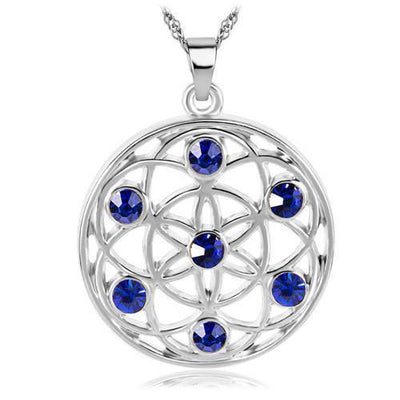 Gold and Silver Crystal Studded Mandala Flower of Life Pendant Necklace Silver - Blue Chakra Necklace