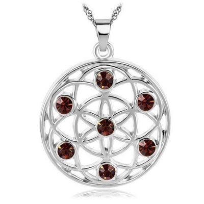 Gold and Silver Crystal Studded Mandala Flower of Life Pendant Necklace Silver - Brown Chakra Necklace
