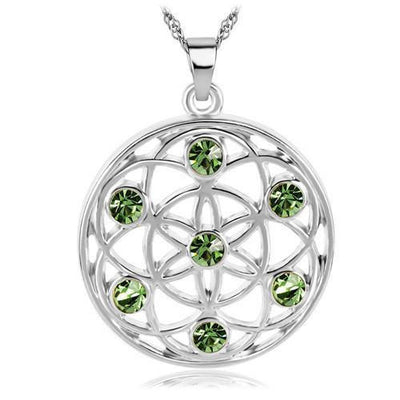 Gold and Silver Crystal Studded Mandala Flower of Life Pendant Necklace Silver - Green Chakra Necklace