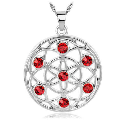 Gold and Silver Crystal Studded Mandala Flower of Life Pendant Necklace Silver - Red Chakra Necklace