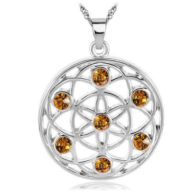 Gold and Silver Crystal Studded Mandala Flower of Life Pendant Necklace Silver - Yellow Chakra Necklace