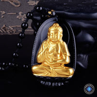 Gold+Natural Black Obsidian Eight Patron Saint Buddha Pendant Necklace Dog / Pig(Boar) Necklace